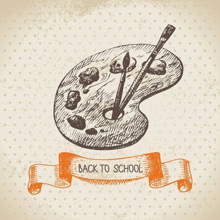 art palette: Vintage vector background with hand drawn back to school illustration