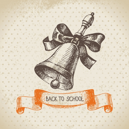 Vintage vector background with hand drawn back to school illustration  Vector