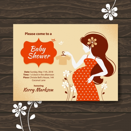 Vintage baby shower invitation with beautiful pregnant woman Vector