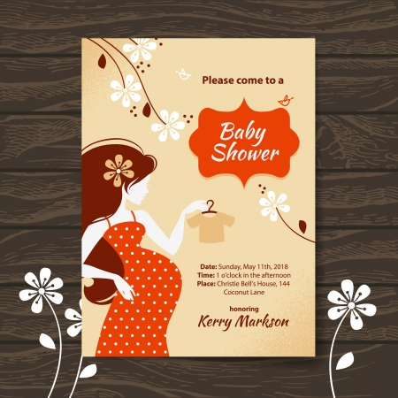 woman shower: Vintage baby shower invitation with beautiful pregnant woman