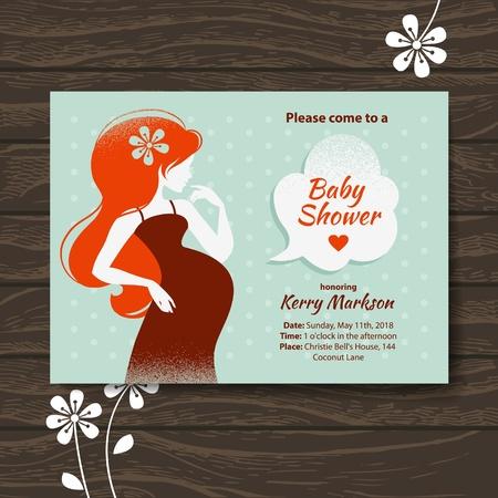 bekleyen: Güzel hamile kadın ile Vintage baby shower davetiye Çizim