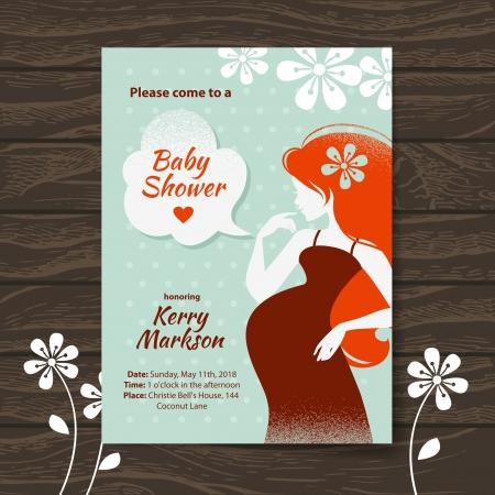 bekleyen: Güzel hamile kadın ile Vintage bebek duş davetiye