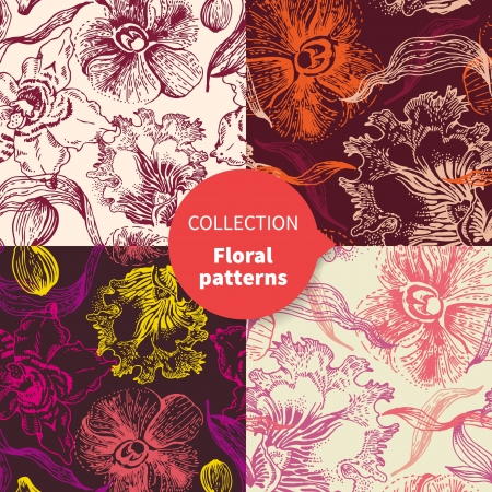 Seamless vector floral pattern set  Vector