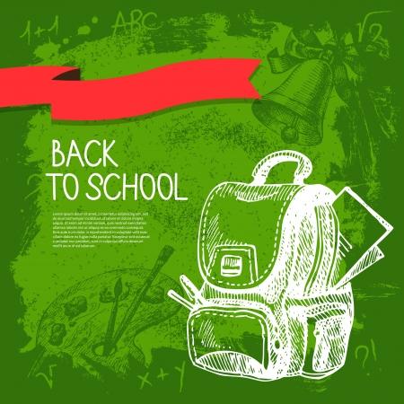 学校のベクトルのデザイン。手描きのビンテージ背景  イラスト・ベクター素材