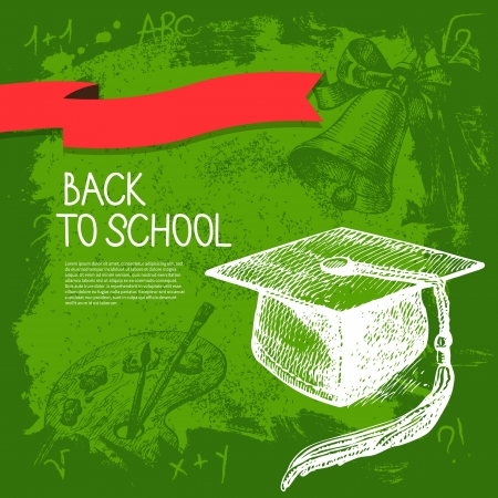 Back to school vector design. Hand drawn vintage  background Vector