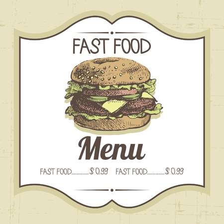 Vintage fast food background. Hand drawn illustration Stock Vector - 20913316