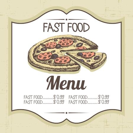 Vintage fast food background. Hand drawn illustration Stock Vector - 20913319
