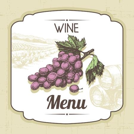 Vintage wine menu background. Hand drawn illustration Stock Vector - 20913320