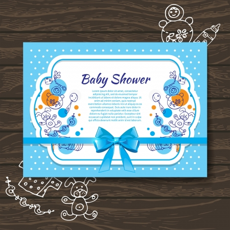 wooden doll: Sweet baby shower invitation with doodle baby toys