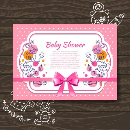 teteros: Dulce bebé invitación de la ducha con los juguetes del bebé del doodle Vectores