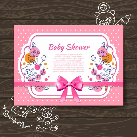 baby girl background: Sweet baby shower invitation with doodle baby toys