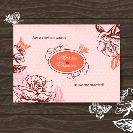 Wedding invitation card. Vintage illustration with hand drawn roses and butterfly Stock Vector - 20913324