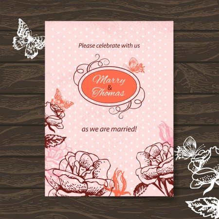 Wedding invitation card. Vintage illustration with hand drawn roses and butterfly Stock Vector - 20913326