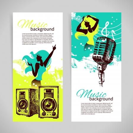 headphones woman: Music banners with hand drawn illustration and dance girl silhouette. Splash blob retro design