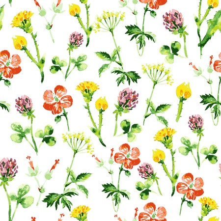 clovers: Watercolor floral seamless pattern. Vintage retro summer background with wildflowers