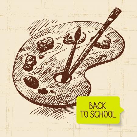 art palette: Vintage hand drawn back to school illustration  Illustration
