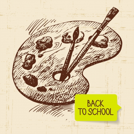 paleta de pintor: Vintage mano dibuja de nuevo a la ilustraci�n de la escuela