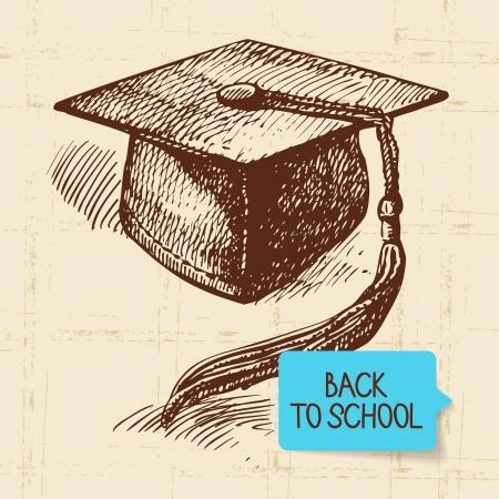 graduate hat: Vintage hand drawn back to school illustration