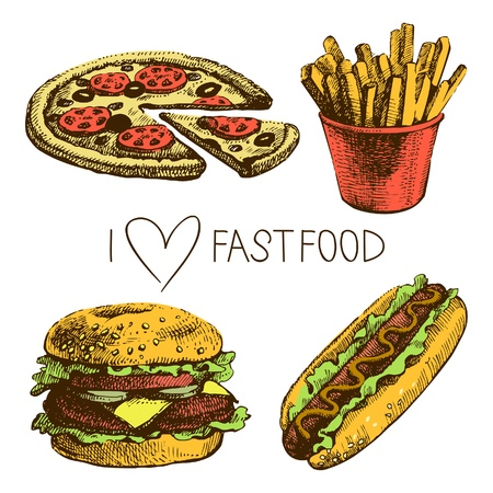 dog food: Fast food set. Hand drawn illustrations  Illustration