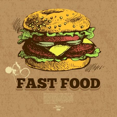 hamburguesa: Fondo de la vendimia de comida r�pida. Dibujado a mano ilustraci�n. Dise�o del men�