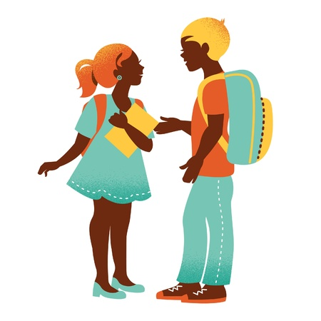 Sсhool boy and girl. Vintage student silhouettes. Back to school illustration Vector