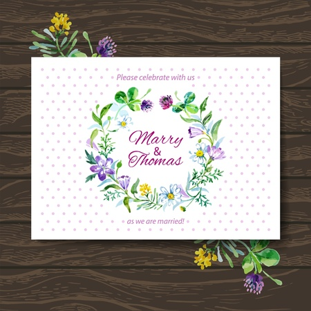 Wedding invitation card with watercolor floral bouquet. Vector background Vector