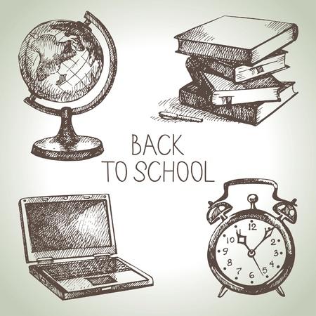 Hand getrokken vector scholen object set. Back to school illustraties Stock Illustratie