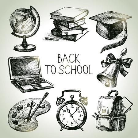 libro: Dibujado a mano vector conjunto de objetos de la escuela. Realice una copia de las ilustraciones de la escuela