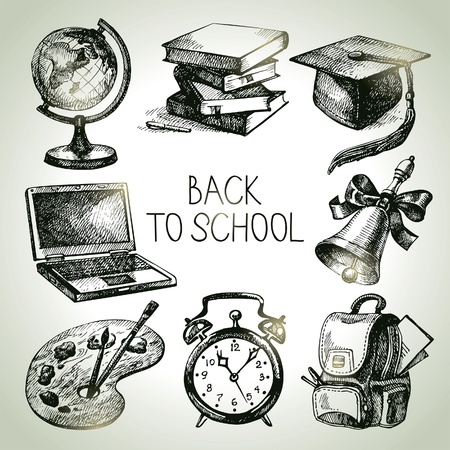 school backpack: Hand drawn vector school object set. Back to school illustrations  Illustration