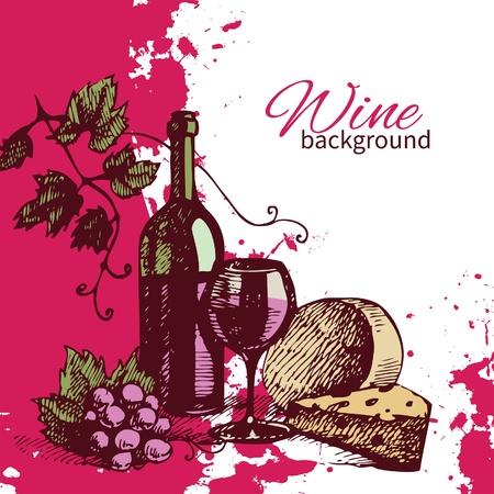 Wijn vintage achtergrond. Hand getrokken illustratie. Splash blob retro design Stockfoto - 21156492