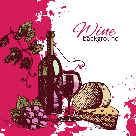 Wine vintage background. Hand drawn illustration. Splash blob retro design  Vector