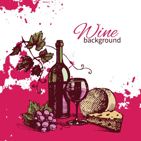 wine and food: Wine vintage background. Hand drawn illustration