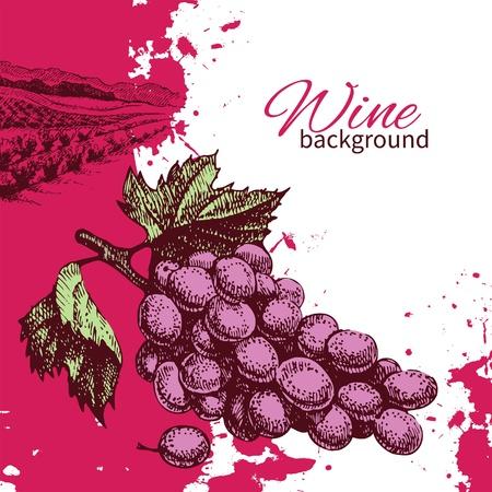 Wine vintage background. Hand drawn illustration. Splash blob retro design Stock Vector - 21158229