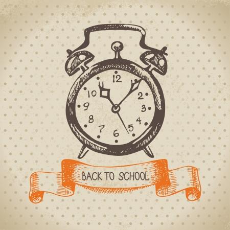 escuelas: Vector de fondo antiguo con la mano dibujada de nuevo a la ilustraci�n de la escuela