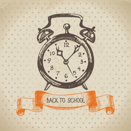 back to school: Vintage vector background with hand drawn back to school illustration