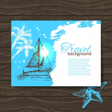 starfish on beach: Travel colorful tropical design. Hand drawn splash blob background