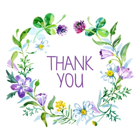 Thank you card with watercolor floral bouquet. Vector illustration Çizim