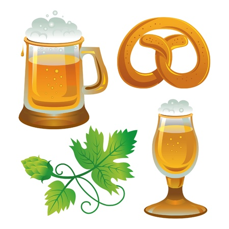 in german: Beer set. Collections for Oktoberfest. Beer, hops and pretzel