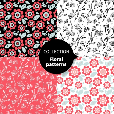 repeating pattern: Seamless vector floral pattern set