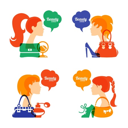 infogaphics: Set of beautiful girl silhouette with fashion icons. Shopping woman. Sale elegant stylish signs