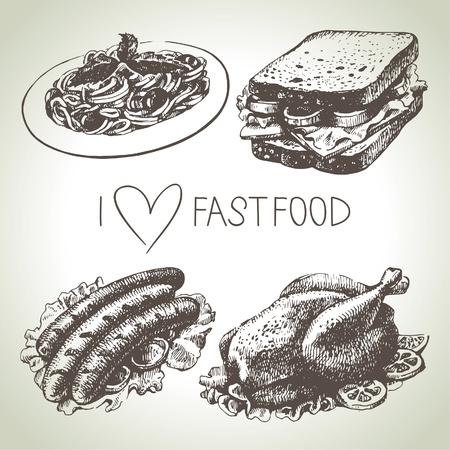Fast food set. Hand drawn illustrations   Vector