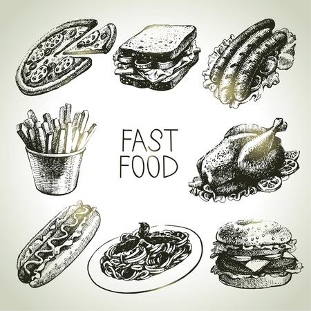 main dishes: Conjunto de comida r�pida. Ilustraciones drenadas mano Vectores