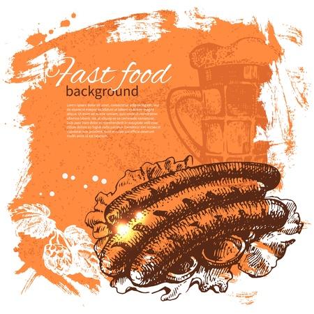 Vintage fastfood achtergrond. Hand getrokken illustratie. Menu design