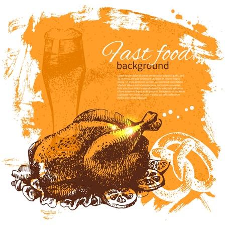 chorizos asados: Fondo de comida r�pida vintage. Dibujado a mano ilustraci�n. Dise�o del men�