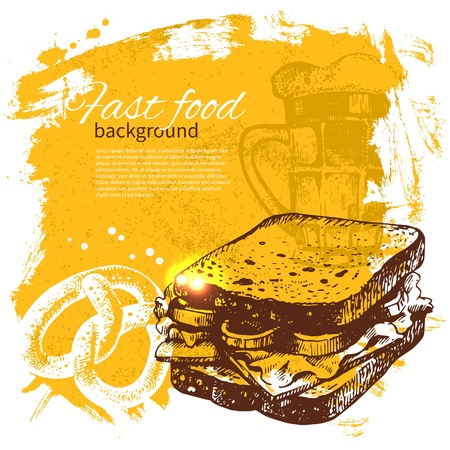 Vintage fast food achtergrond. Hand getrokken illustratie. Menu ontwerp Stockfoto - 21531496