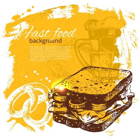 dog food: Vintage fast food background. Hand drawn illustration. Menu design
