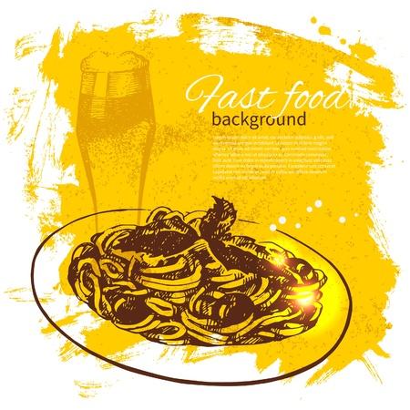 italian sausage: Vintage fast food background. Hand drawn illustration. Menu design