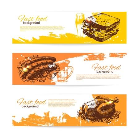 main dishes: Banderas de comida r�pida vintage. Fondo con ilustraciones dibujadas a mano. Dise�o del men� Vectores