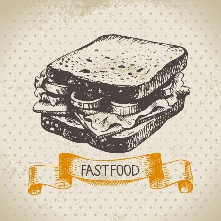 Fondo de comida rápida vintage. Dibujado a mano ilustración. Diseño del menú