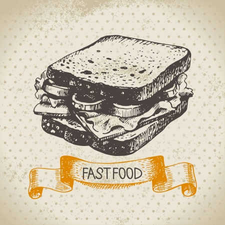 sandwich de pollo: Fondo de comida r�pida vintage. Dibujado a mano ilustraci�n. Dise�o del men�